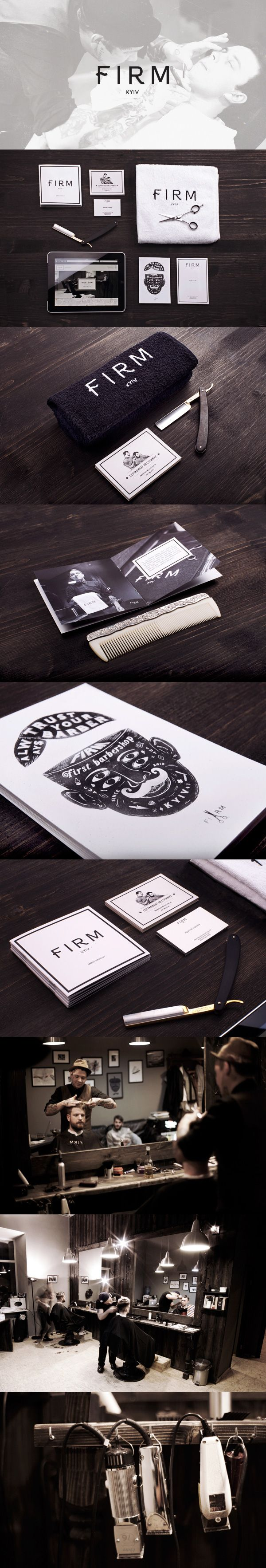 FIRM barbershop identity, stationary, interior, branding