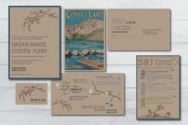 craft paper invitation suite, convict lake wedding // onelove photography
