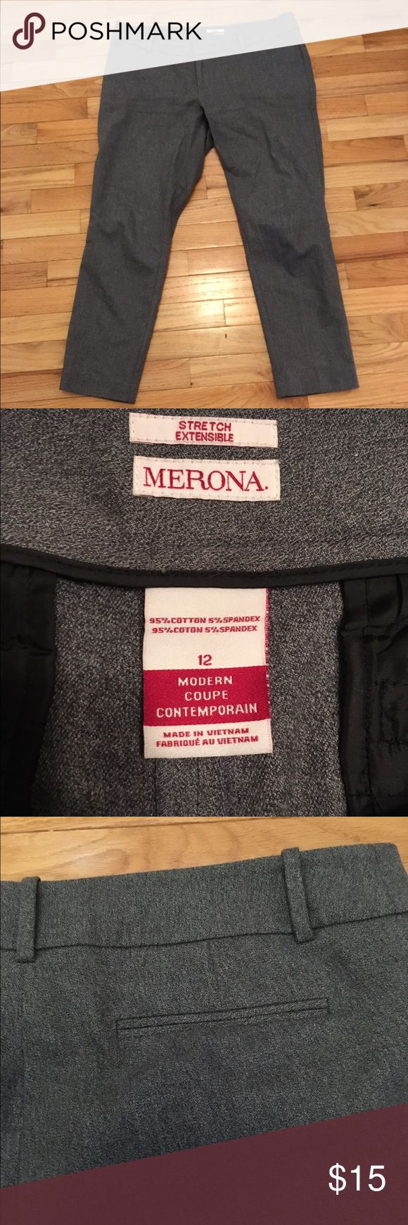 Ankle Length Dress Pants These grey, ankle length dress pants are the perfect weight. Thick but not stiff. Worn a few times to the office, in great condition. Merona Pants Ankle & Cropped