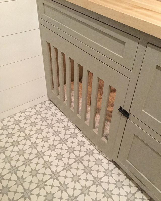Custom Built in dog crate / dog kennel as furniture