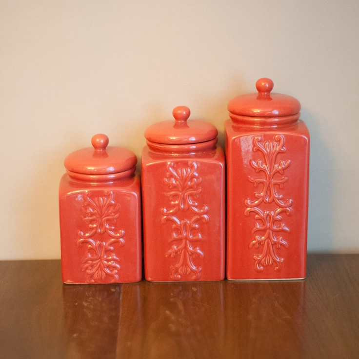 set of vintage coral ceramic canisters chinoiserie kitchen canisters bright housewares