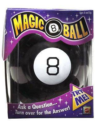 In 1950, The Magic 8 Ball was known as Syco-Seer a design by the late Carter, it was his brother-in-law Abe Bookman who re-desgned to turn the Syco-Seer into a black-and-white 8 ball with a floating 20-sided die. When the ball is shaken, the die floats to the surface, revealing its answer to your question about the future. #Crazy8