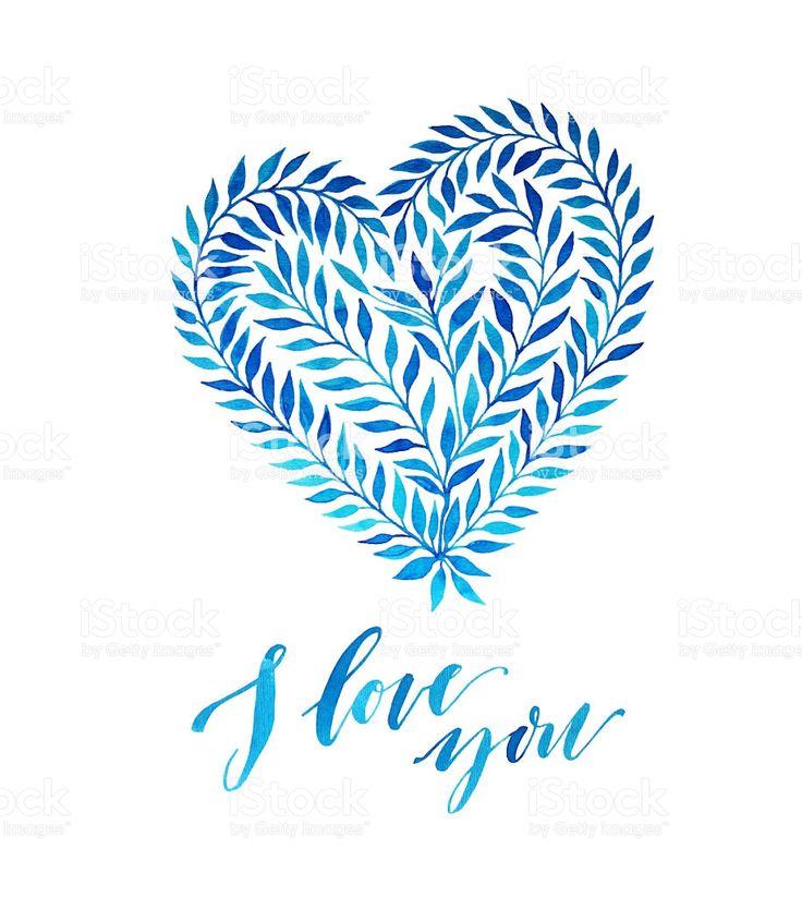 Ti amo carta con mano Dipinto ad acquerello cuore. illustrazione royalty-free
