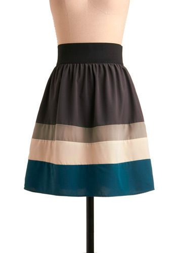 Ocean Aura Skirt, #ModCloth  With an ivory top and red accessories.