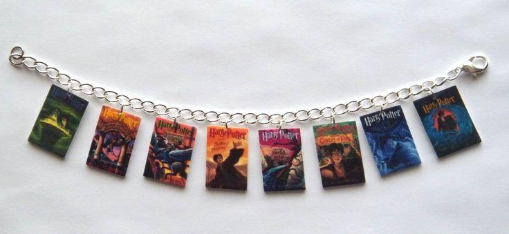 Harry Potter bracelet  Book cover Charm Bracelet  Voldemort Deathly Hallows Hogwarts. $14.99, via Etsy.