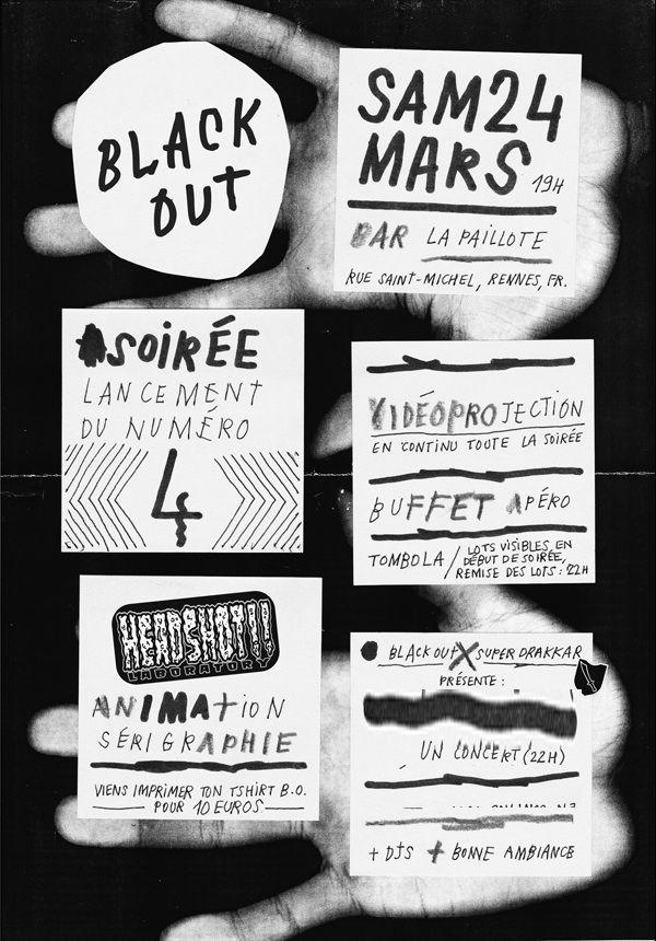 "affiche/poster ""Black out"" (France, Rennes), skatezine, skate magazine…"
