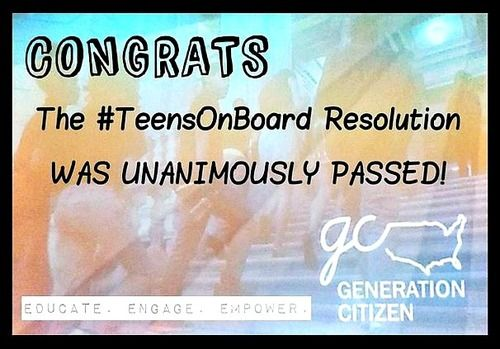 Remember the #TeensOnBoard Resolution passed by New York? If not, check out this #tbt post on the kick-ass campaign planned and executed by our Program Associate, Ayisha Irfan. http://gcatpace.tumblr.com/post/91357519951/this-throwback-thursday-post-goes-a-month-back: Campaign Planned, Kick Ass Campaign, Generation Citizen, Teensonboard Resolution, New York, Ayisha Irfan, Program Associate, Tbt Post, Resolution Passed