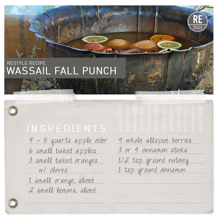 Wassail Fall Punch    Recipe + Photos by Elizabeth Maxson / Where Women Create. View the whole recipe by clicking the image link!