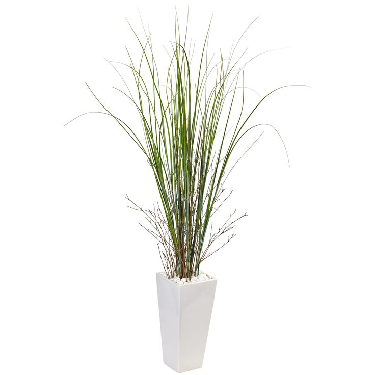 The tall stalks of artificial bamboo grass stretch out from the white ceramic tower planter and included river rock. This vertical arrangement can add drama when placed near an entryway, or it can make an otherwise bare corner something interesting. Made from the finest materials, the bamboo grass looks realistic and natural and will for years to come.