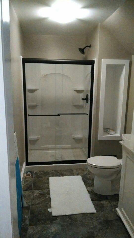 Small bathroom ideas greige walls bright white trim for Small bright bathroom ideas