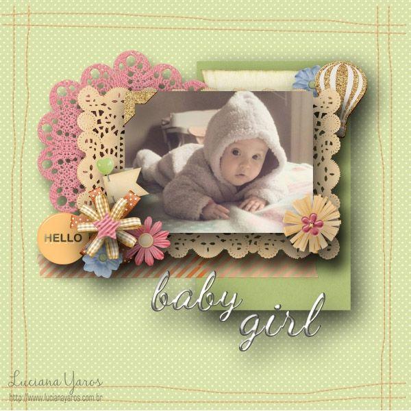 "Luciana Yaros Scrapbooking: Página digital ""Baby Girl"""