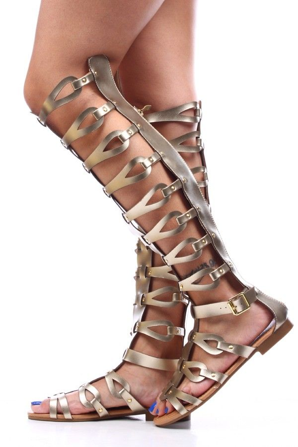 Gold Faux Leather Strappy Knee High Gladiator Sandals