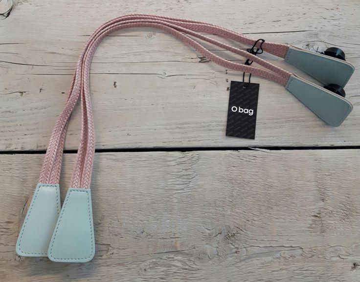 O`Bag eco leer hengsels kort Doppia Treccia Light Blue/Pink