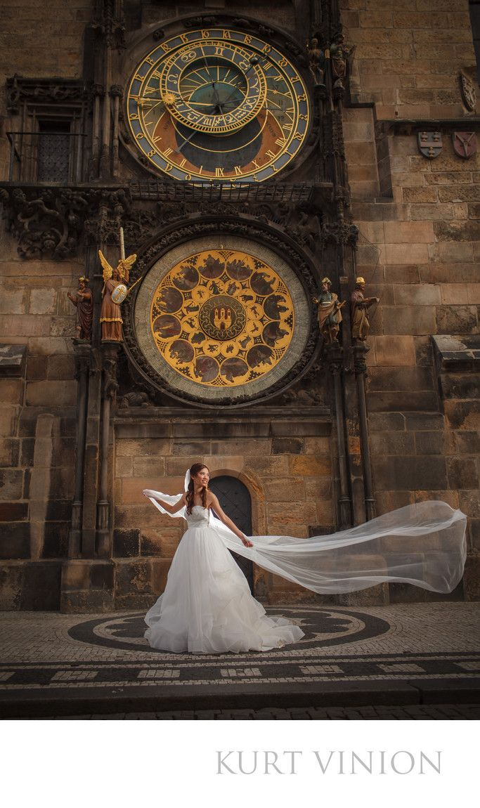 London wedding & Prague pre wedding photographer - pre-wedding photography - Astronomical Clock Prague: H&P destination pre wedding portrait session at Prague's Old Town Square / location Astronomical Clock.