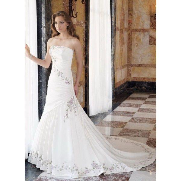 Mermaid Strapless Beaded Floral Satin Wedding Dress