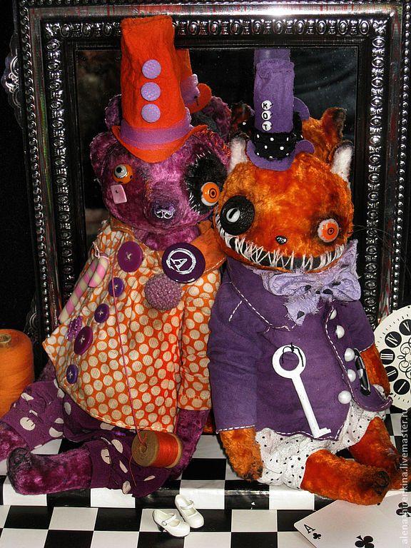 Купить Оранжевое настроение - оранжевый, кот, фиолетовый, плюш, мишка, мишки тедди, Плюшевый мишка
