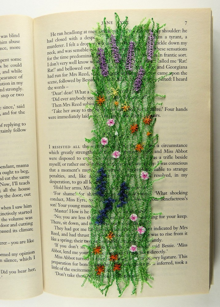 A lovely embroidered bookmark using freestyle machine embroidery