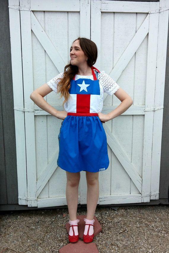 CAPTAIN AMERICA Marvel Comics SuperHero Costume APRON for women. Fits size 0-10 Avengers Birthday Party Photo Prop Cosplay Texas Texan Flag