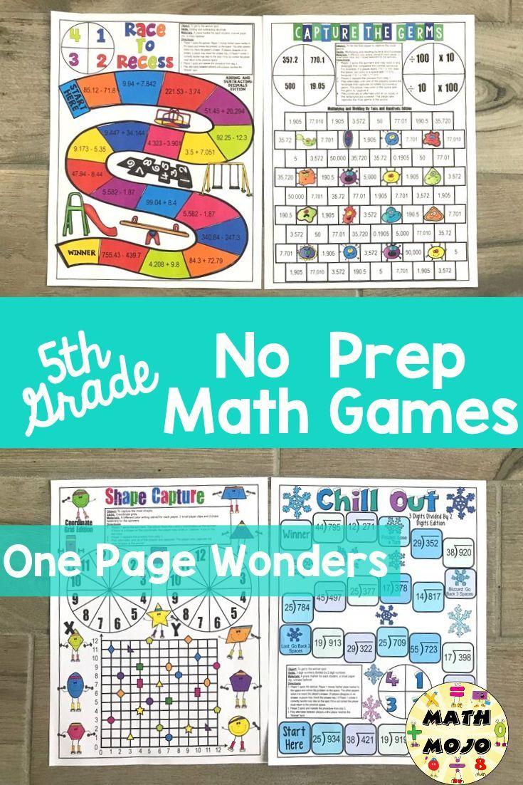 5th Grade Math Games One Page Wonders 5th Grade Math Centers 5th Grade Math Games Math Classroom Elementary 5th Grade Math [ 1102 x 735 Pixel ]