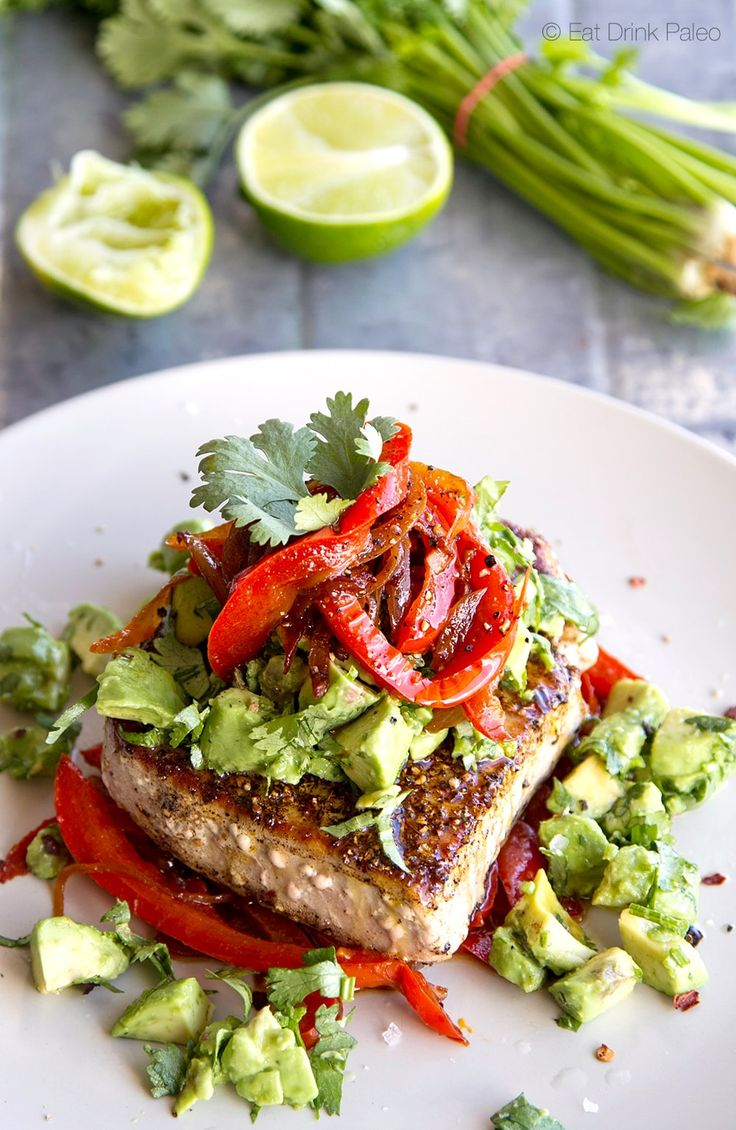 Mexican Tuna Steak, Sweet Red Peppers, Avocado & Fresh Coriander Salsa | Eat Drink Paleo - Healthy Recipes, Gluten Free, Clean Eating