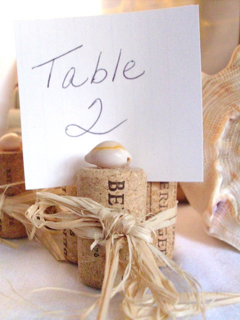 Cork Place Card Holders with shells, set of 6, Rustic, beach decor
