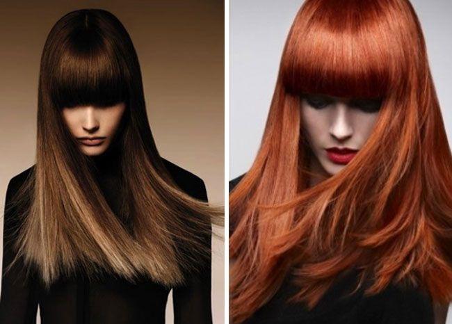 Come scegliere il colore dei capelli per il 2016: prima parte, Capelli rosso rame autunno inverno 2016, Capelli biondo cenere autunno inverno 2016, Capelli lunghi con frangia 2016