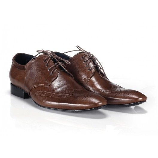 Talianske kožené pánske topánky hnedej farby COMODO E SANO - fashionday.eu