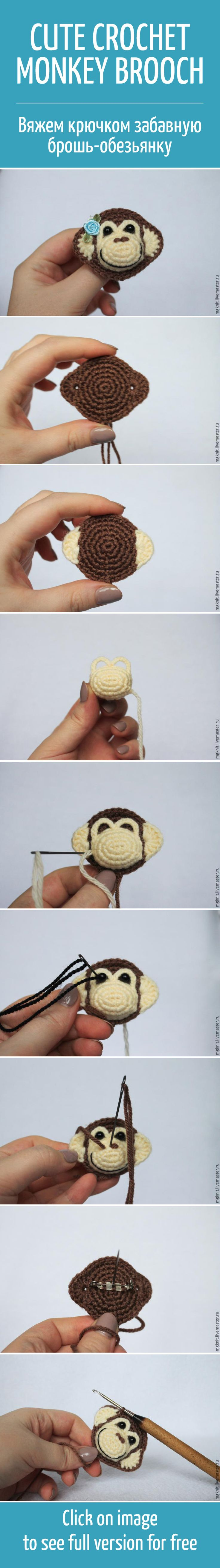 Вяжем крючком забавную брошку-обезьянку / Cute crochet monkey brooch tutorial, DIY