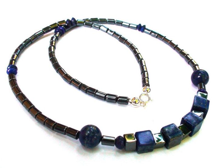 Mens Necklaces – Stylish silver necklace with Hematite,Lapis lazuli – a unique product by OlgaJewelryBoutique on DaWanda