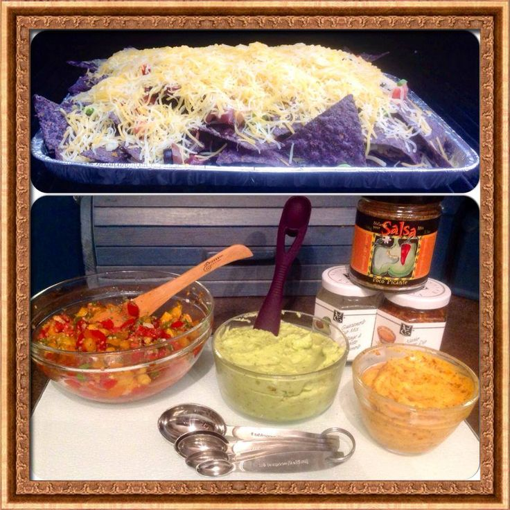 BBQ nacho's.  Quick & easy guacamole with fresh salsa & a little nacho cheese on the side.