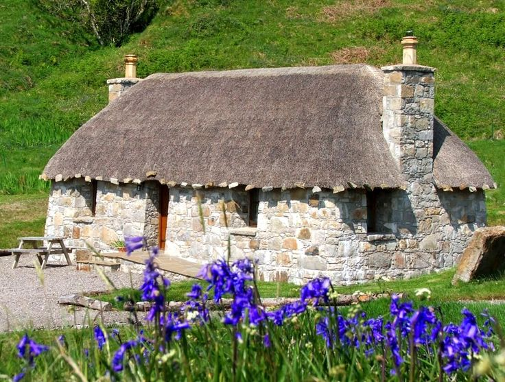 Mary's Thatched Cottages, Elgol, Isle of Skye, Scotland                                                                                                                                                     More
