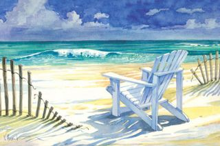 Beach Chair Rolling Waves Artwork