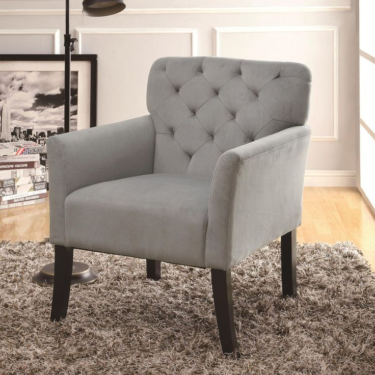 Modern Style Tufted Back Accent Arm Chair In Grey Microvelvet Upholstery By Coaster Furniture 902144 Living Room