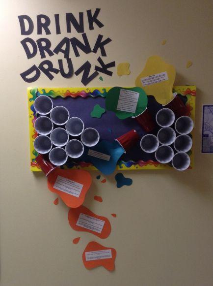 Drink, Drank, Drunk Bulletin Board. WSU October 2014