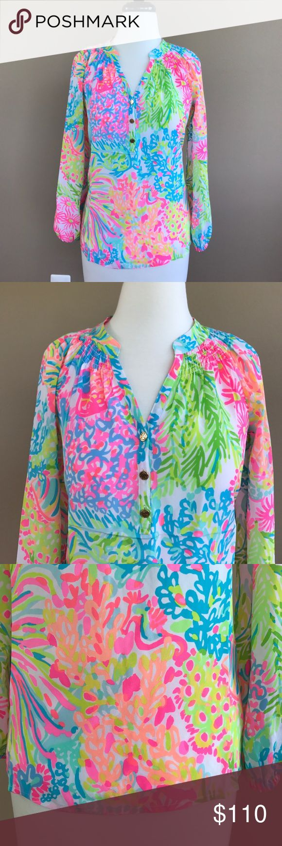 • Lilly Pulitzer • Elsa Lovers Coral Blouse XXS - Lilly Pulitzer  - New with Tags - Silk - Elsa Top - Lovers Coral - XXS Lilly Pulitzer Tops Blouses