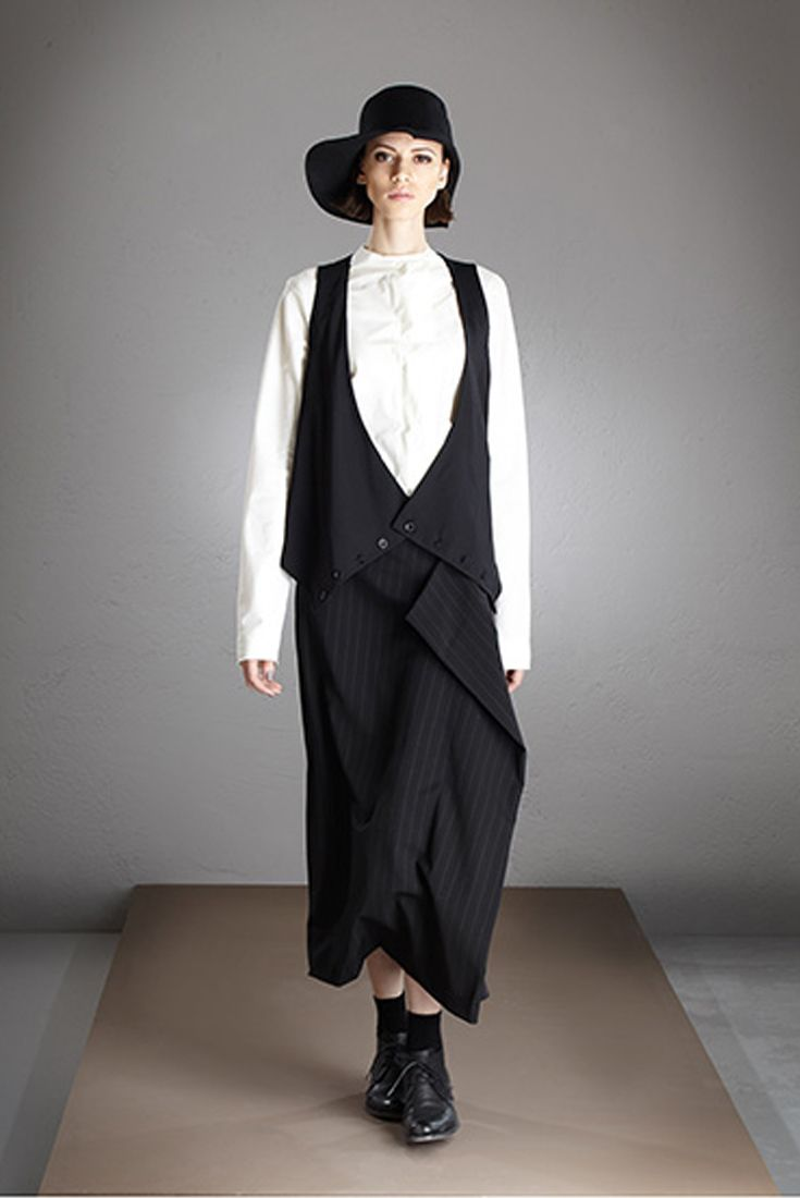 Malloni long cotton shirt, no collar and Malloni maxi skirt, pinstripe fabric with side bends.  // Shop at store.malloni.com