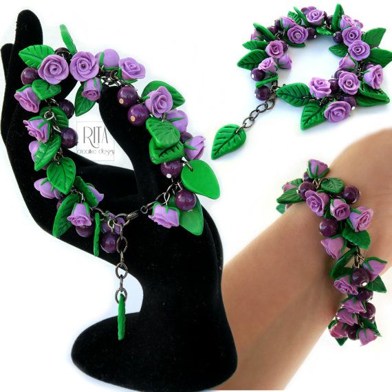 BRACELET purple rosses. Polymer clay FIMO by RITAcreativedesign