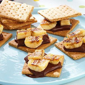 Dark chocolate banana s'mores- Bananas instead of marshmallows.