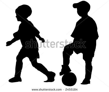 silhouette of  kids | Silhouettes Of Children Playing Soccer (Boy And Girl) Stock Photo ...