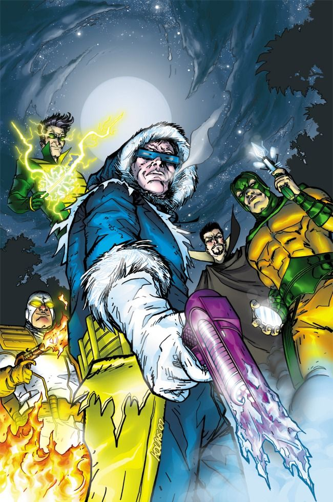 Flash Rogues: Captain Cold, Heat Wave, Weather Wizard, Abra Kadabra, and Mirror Master.