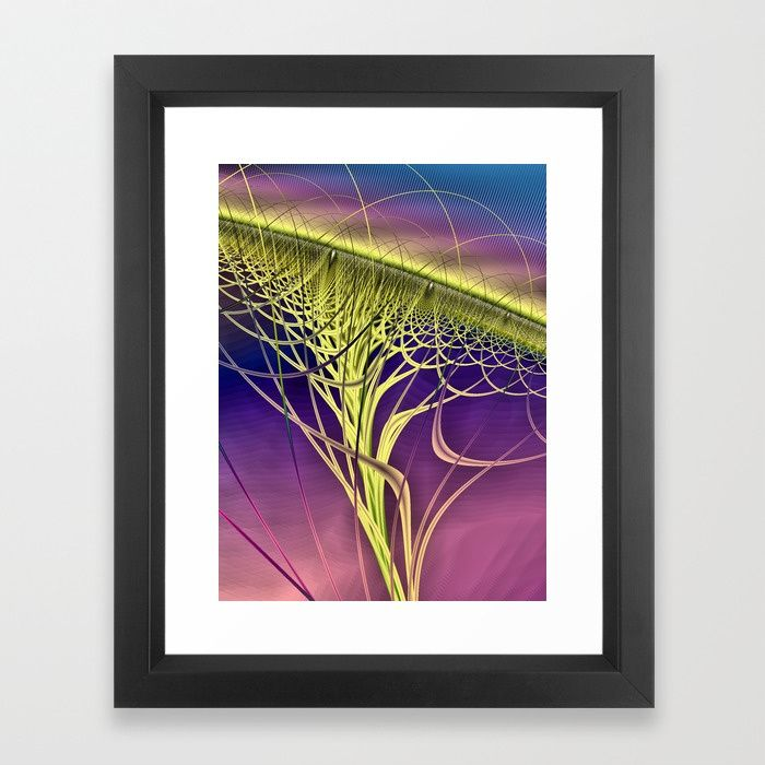 Twister Yellow Framed Art Print by Terrella.  A colourful abstract twister made of twisted strands and arches with a jagged multicoloured background. This is the yellow version.