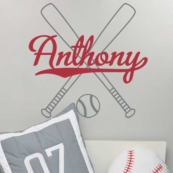 Baseball Wall Decal Personalized With Name Baseball Bats And Baseball Athletic Sports Vinyl Wall Decal Boys Room Wall Art 22H x 23W BN034 on Etsy, $36.95
