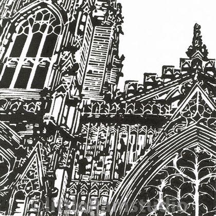 York Minster West Window - Original Hand Pulled Linocut Print £25.00