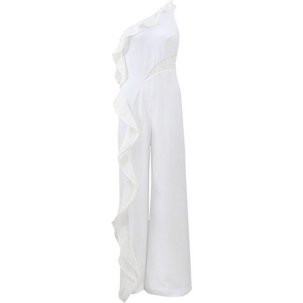 Jonathan Simkhai Diamond Mesh One Shoulder Jumpsuit ($795) ❤ liked on Polyvore featuring jumpsuits, white jump suit, jump suit, one shoulder jumpsuit, jonathan simkhai and white wide leg jumpsuit