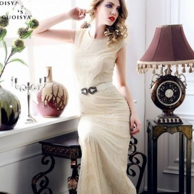 High Quality Lace Girl Formal Dresses Apricot