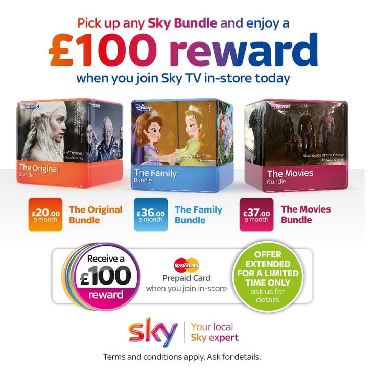 """Fantastic """"£100 reward"""" #Sky TV offer has just been extended, in-store or call 01384 566497. Your local Sky experts!"""