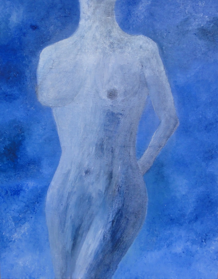 FEARLESS  Safe in the soft moonlight, she bares her body for the first time. Strong blues and definitive brushstrokes in soft silver captures the innocence and beauty of her naked body.