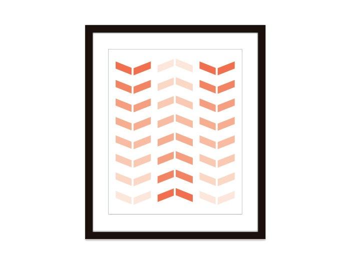 Chevron - Wall Art Print - Simple Modern Arrows - Home Decor - Coral Peach Nectarine -Tribal - Ombre - Under 20. $18.00, via Etsy.
