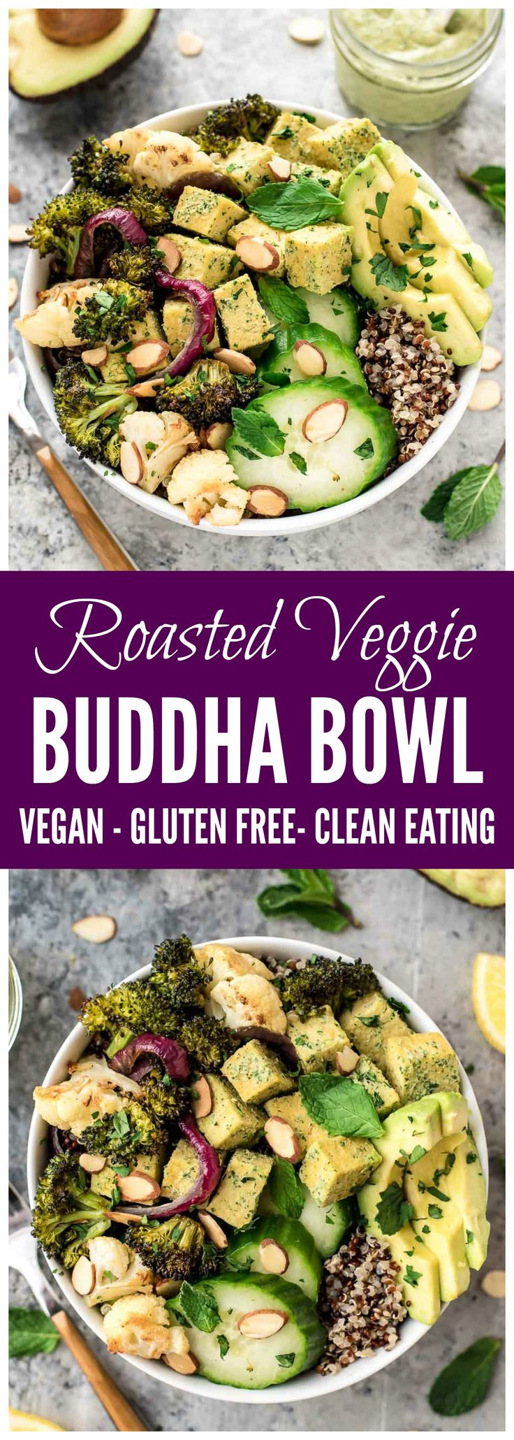 Roasted Veggie Buddha Bowl! A healthy lunch or dinner that's clean eating, vegan, and gluten free. Quinoa, the BEST tofu, avocado, roasted broccoli in creamy lemon tahini dressing. Get the recipe at www.wellplated.com @wellplated