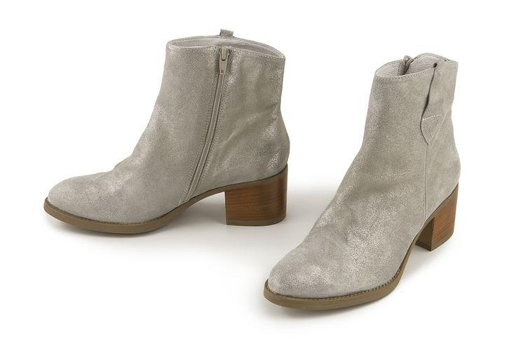 Stivaletto in pelle laminata bianco-argento. White-silver metallic leather bootie.